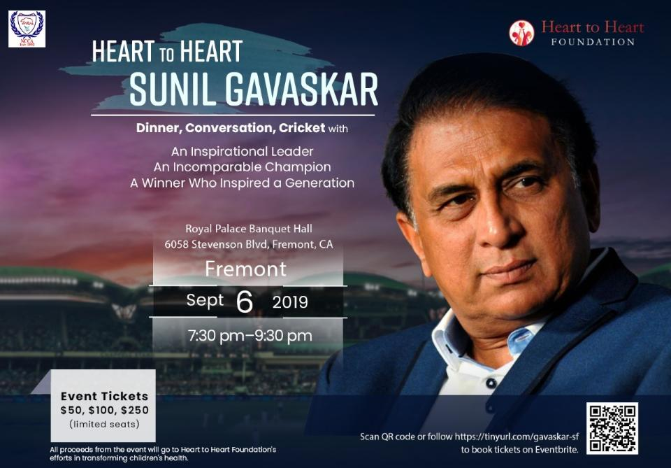 Sunil Gavaskar for Heart 2 Heart Foundation Fundraiser banquet on 9/6/2019